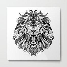 Angry Lion - Drawing Metal Print