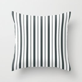 PPG Night Watch Pewter Green & White Wide & Narrow Vertical Lines Stripe Pattern Throw Pillow