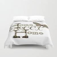 home sweet home Duvet Covers featuring Home Sweet Home Sepia by CatDesignz