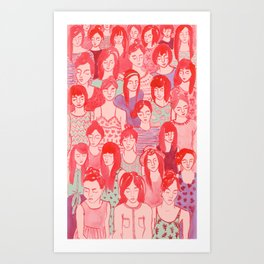 Girl Crowd Art Print
