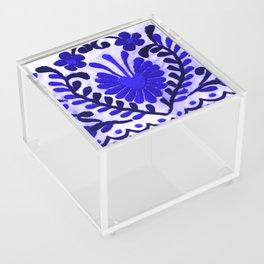 Beautiful Midnight Blue Mexican Flower Acrylic Box