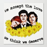 the perks of being a wallflower Canvas Prints featuring Perks of being a Wallflower by Lydia Dick