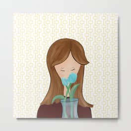 Girl With Flowers Girl With Tulips Metal Print