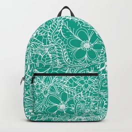 Modern trendy white floral lace hand drawn pattern on emerald green Backpack