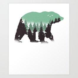 Best Bear Forest Design Art Print