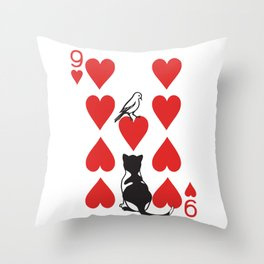 Clipped Wings Deck: The 9 of Hearts Throw Pillow