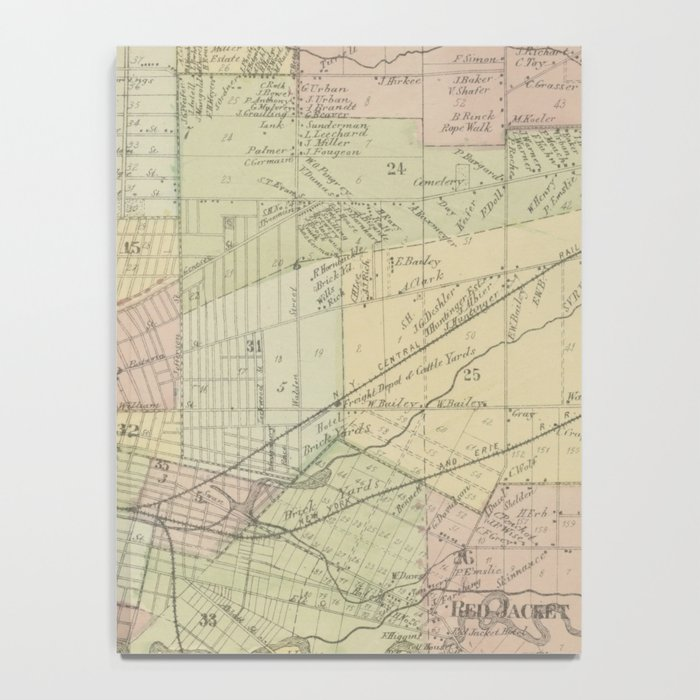 Vintage Map of Buffalo NY (1866) Notebook