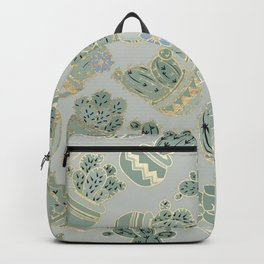 Mint green black faux gold cactus floral Backpack