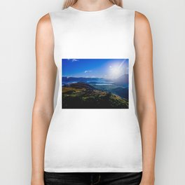lake wanaka covered in blue colors new zealand beauties and mountains at sunrise Biker Tank