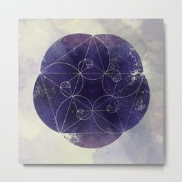 Spirals of Sapphire Metal Print
