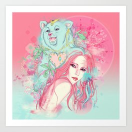 Bear beauty shopping Art Print