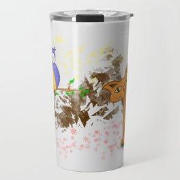 gufo e gatto 1 Travel Mug
