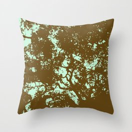 Mint and Brown Forest Throw Pillow