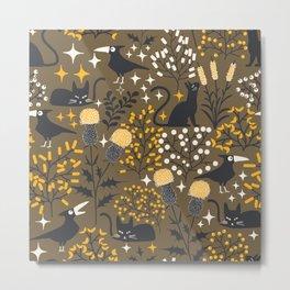 Black Cat and Crow Pattern Metal Print