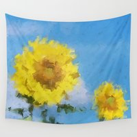 sunflowers Wall Tapestries featuring Sunflowers by Paul Kimble