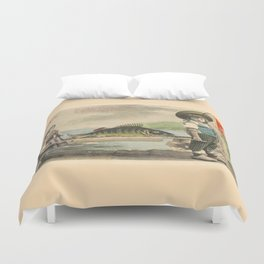 The April Fish - Vintage / Antique French Post Card - Piosson D'Avril - April Fools Day Duvet Cover