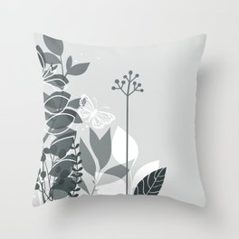 PPG Night Watch Pewter Green Botanicals and Butterfly Graphic Design 2 Throw Pillow