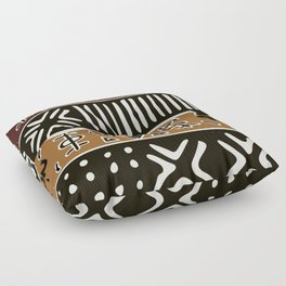 African mud cloth with elephants Floor Pillow