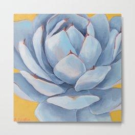 Blue Succulent Metal Print