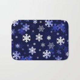 Dark Blue Snowflakes Bath Mat