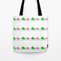 preppy Tote Bags featuring Preppy MaMa Whale by Jozane House