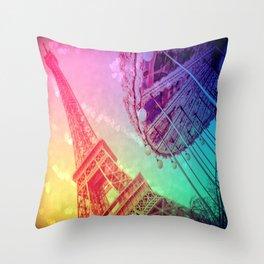 Paris : Rainbow Romance Throw Pillow