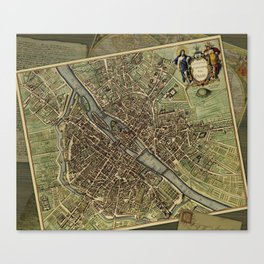 Old Paris Map and other manuscripts Canvas Print