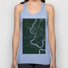 Bangkok Thailand Minimal Street Map - Forest Green and White Unisex Tank Top