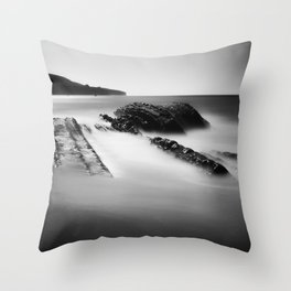 Uncovered Bowling Ball Beach Mendocino coast Throw Pillow