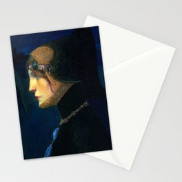 Head of a Lady in Medieval Costume by Lucien Victor Guirand de Scevola (c.1900) Stationery Cards