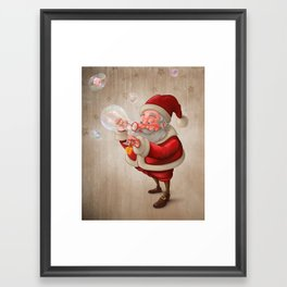 Santa Claus and the bubbles soap Framed Art Print