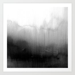 Modern Black and White Watercolor Gradient Art Print