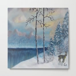 Sunrise at the lake, Beautiful Modern Oil Painting on Canvas, Landscape Metal Print