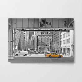NYC Yellow Cabs Fish Market Metal Print