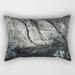 Cold colors and a touch of red Rectangular Pillow