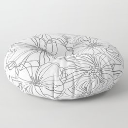 Line Art, Floral Prints, Charcoal and White, Minimal Art Floor Pillow