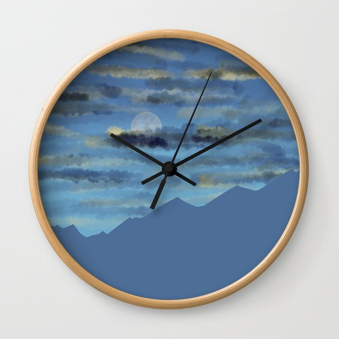Moon over blue mountains Wall Clock