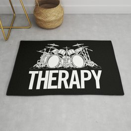 Drummers Therapy Drum Set Cartoon Illustration Rug