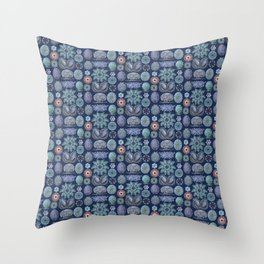 Ernst Haeckel Ascidiae Sea Squirts Cool Blues Throw Pillow