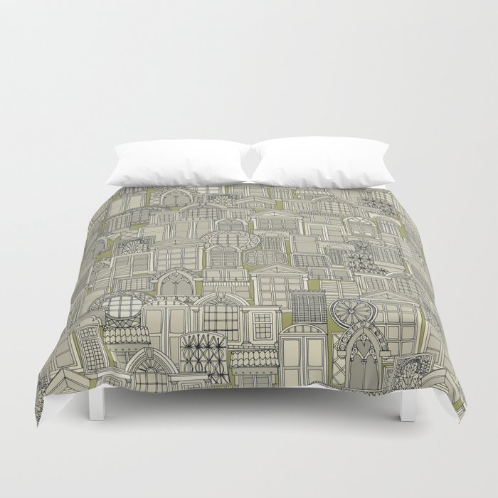 windows green Duvet Cover