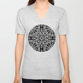 Black & White Folk Art Pattern Unisex V-Neck