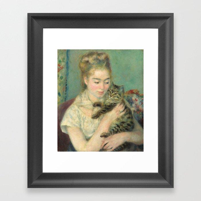 Woman with a Cat Oil Painting by Auguste Renoir Gerahmter Kunstdruck