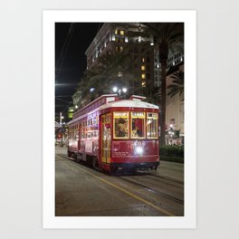 New Orleans Canal Street Car at Night Art Print