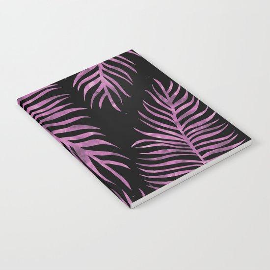 Fern Pattern Purple On Black Background Notebook