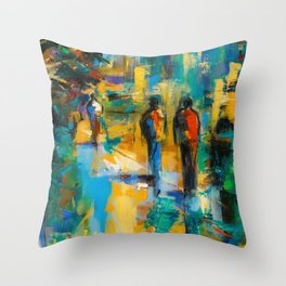 Walk in the city Throw Pillow