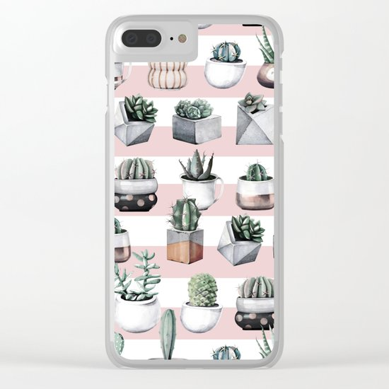 Potted Cactus Stripes Pink Rose Gold Clear iPhone Case
