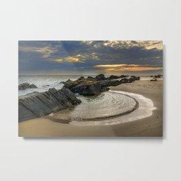 Windy Tarifa beach. Wild swiming pools. Metal Print