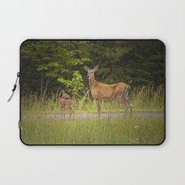 Doe and Fawn along a roadside near Iron Mountain Michigan Laptop Sleeve