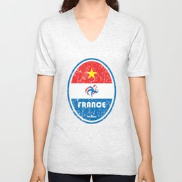 World Cup Football 7/8 - France (Distressed) Unisex V-Neck