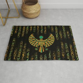 Egyptian Horus Falcon gold and color crystal Rug
